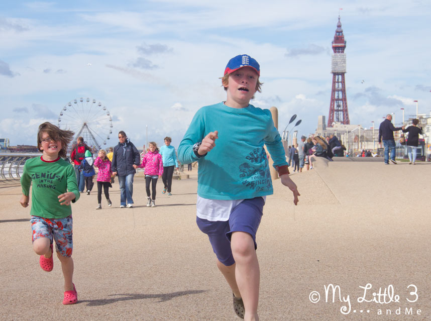 Running-Along-Blackpool-Sea-Front - A review of our Blackpool holiday from My Little 3 and Me