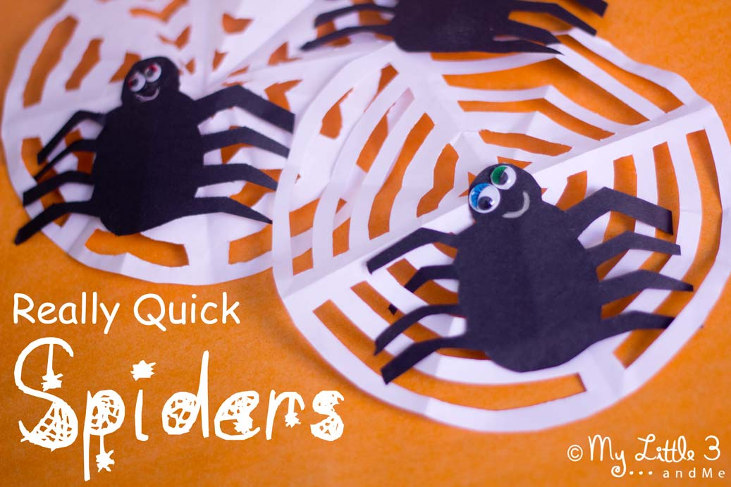 Make Really-Quick-Spider Decorations. Great For Halloween Or Incy Wincy Spider Song Props. From My Little 3 and Me