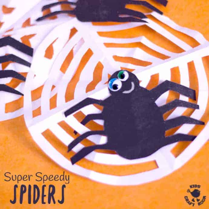 SPEEDY SPIDER CRAFT - Make quick spider decorations in minutes. Great as a Halloween spider craft or an Itsy Bitsy Spider activity.