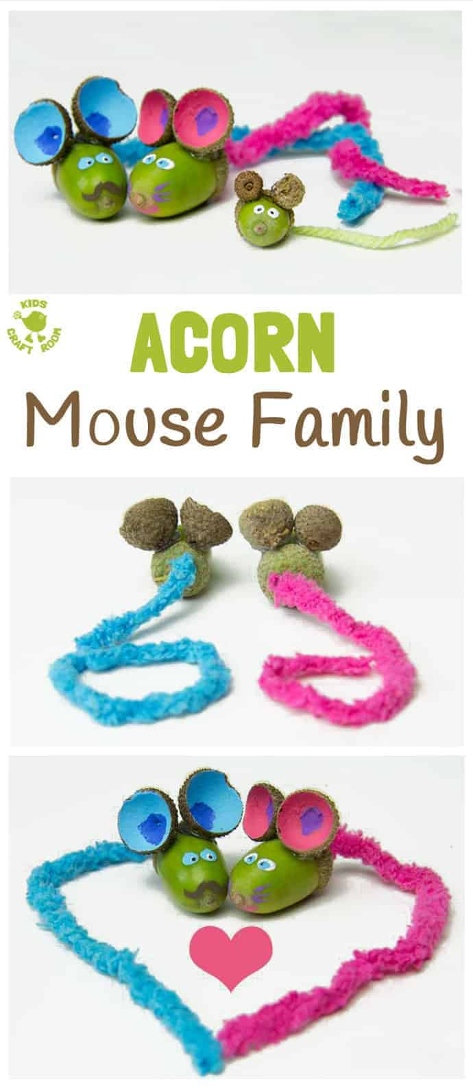 ACORN MOUSE CRAFT -We love these adorable ACORN MICE, such a cute Nature craft for Fall. Autumn crafts and acorn crafts for kids are such fun. Squeak!