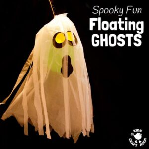 JUMBO FLOATING GHOST CRAFT. These spooky ghosts are easy DIY Halloween decorations for the house or yard. A fun Halloween craft for kids to make and play with. #halloween #halloweendecorations #ghosts #halloweenparty #kids #kidscrafts #kidscraft #spook #ghoul #spectre #halloweenforkids #ghostcrafts #ghostcraft #balloons #ballooncrafts #kidscraftroom
