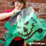 Make GIANT floating Frankenstein's Monsters. Great homemade Halloween decorations that work really well as a party craft activity and party favour too.