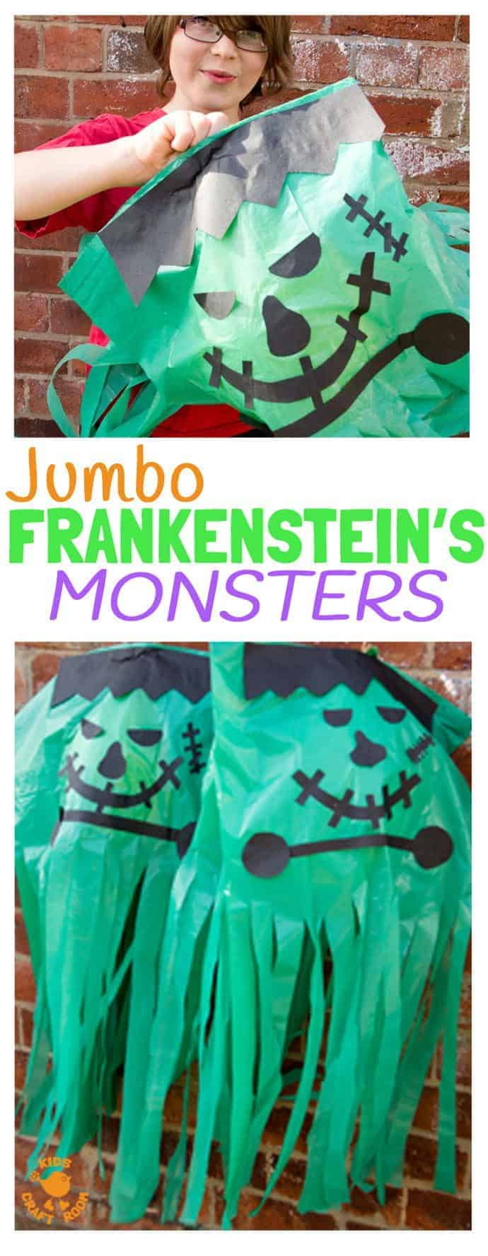 JUMBO FRANKENSTEIN CRAFT - enormous Frankenstein's Monsters are a great Halloween craft for kids. These homemade Halloween decorations will make your house look monstrously creepy!