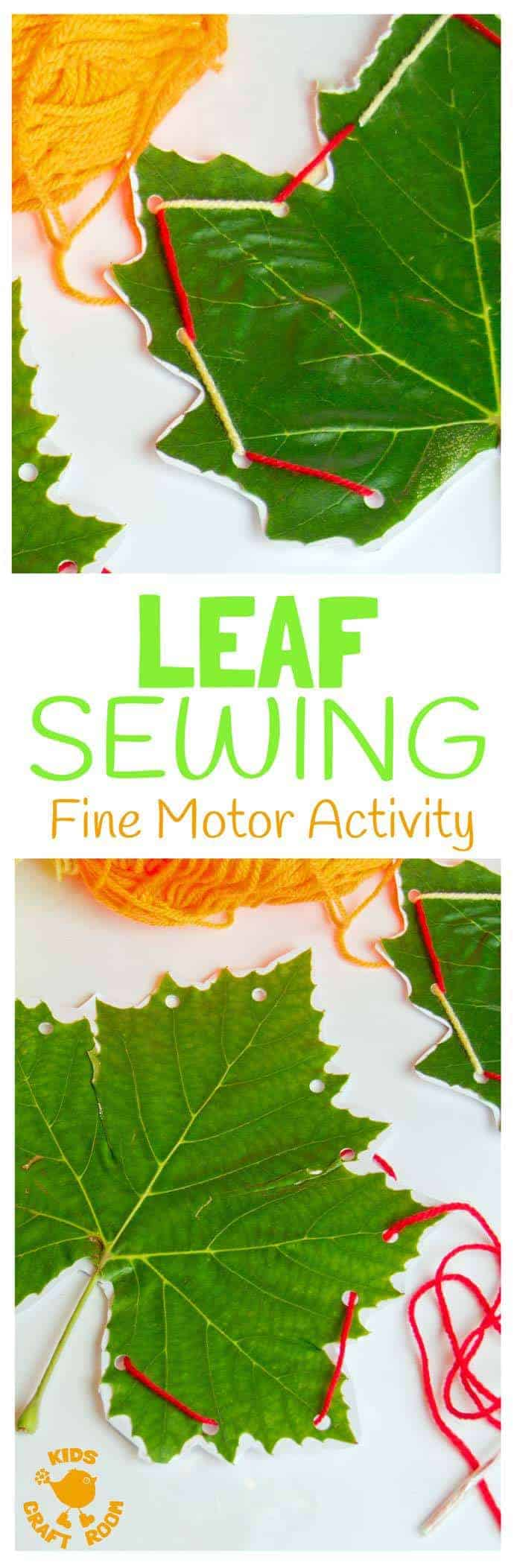 LEAF SEWING - A fun Autumn / Fall craft for kids. This Fall activity builds fine motor skills and connects kids with Nature using real leaves. An unusual leaf craft kids will love.