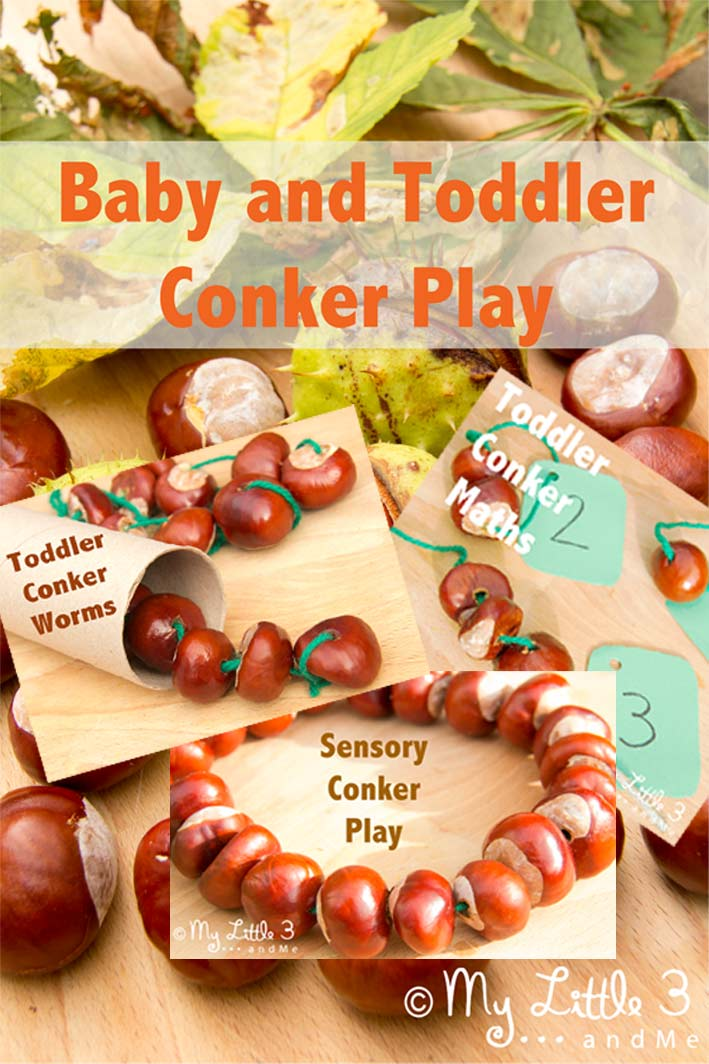 Baby and Toddler Conker Play Ideas from My Little 3 and Me