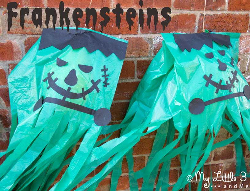 Make GIANT floating Frankensteins. Great homemade Halloween decorations that work really well as a party craft activity and party favour too. From My Little 3 and Me.