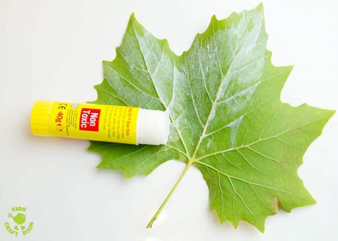 Step 2 LEAF SEWING - A fun Autumn / Fall craft for kids. This Fall activity builds fine motor skills and connects kids with Nature using real leaves. An unusual leaf craft kids will love.