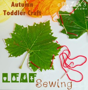 Autumn Crafts For Toddlers: leaf sewing from My Little 3 and Me
