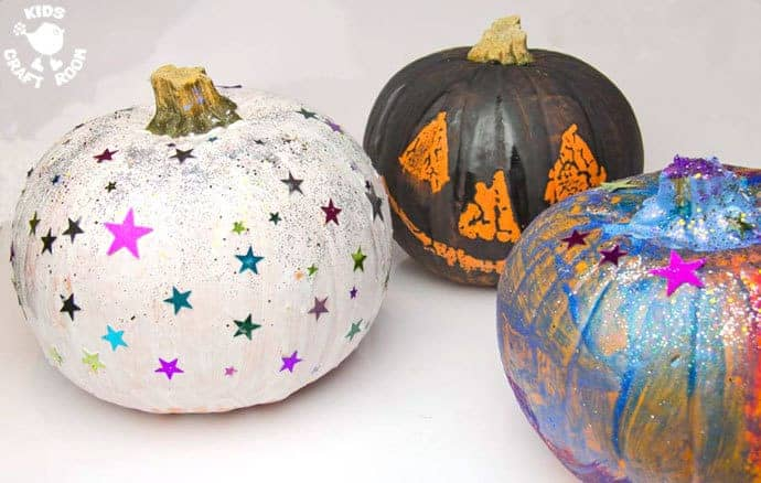 Pumpkin Painting is a Halloween craft for the whole family. Painted Pumpkins are an easy and safe pumpkin carving alternative for kids that look stunning!