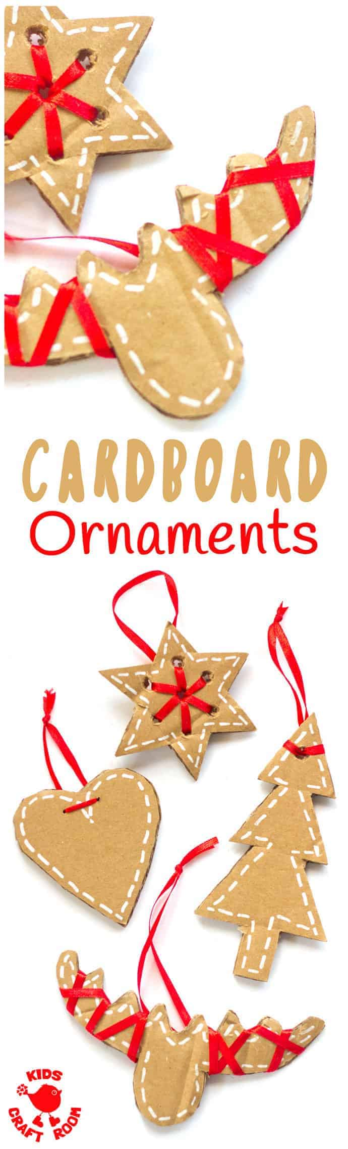 PRETTY CARDBOARD ORNAMENTS - These rustic DIY cardboard ornaments are a fantastic recycled crafts that will make your Christmas tree and home gorgeous this Winter. A simple Christmas craft for kids and adults. #christmas #christmascrafts #kidscrafts #recycledcrafts #ornaments #kidscraftroom #cardboard #recycled