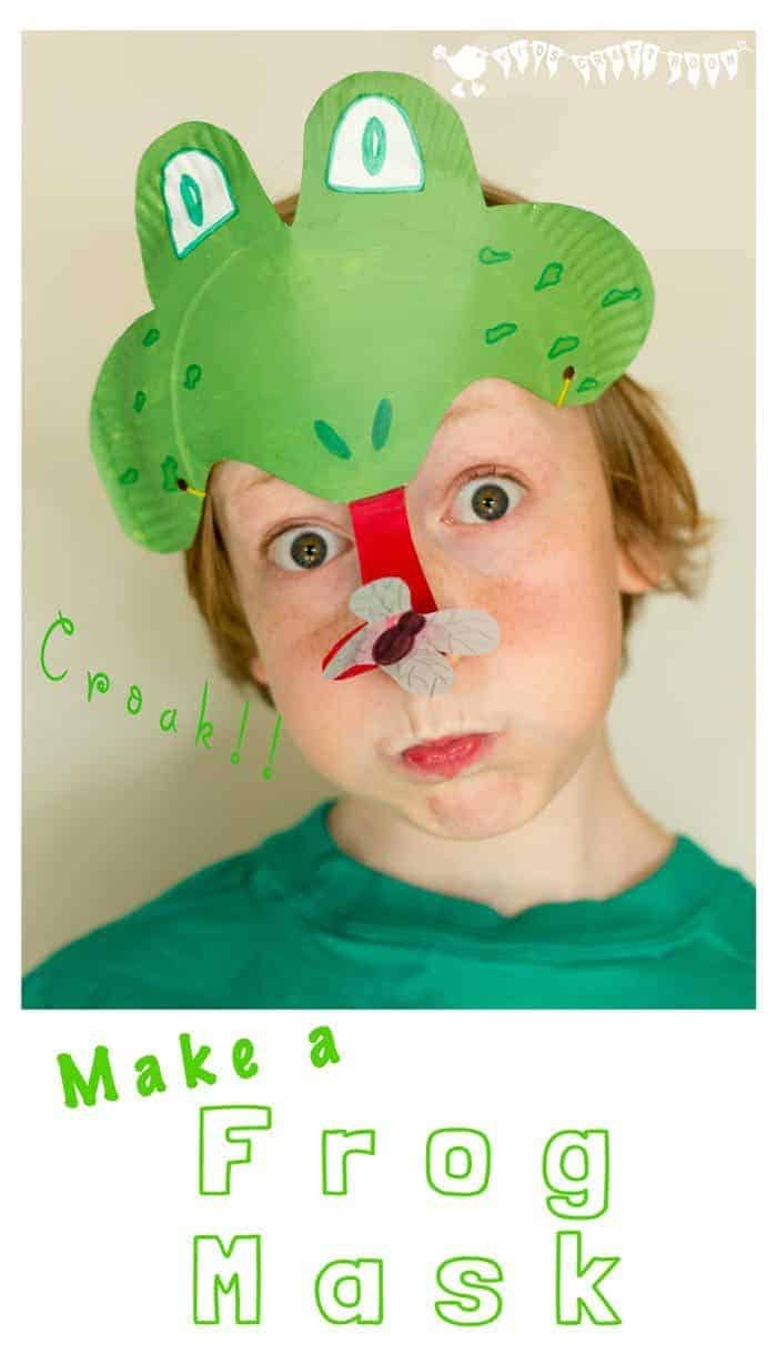 Make a Paper Plate Frog Mask - catching flies with its curly tongue! CROAK!
