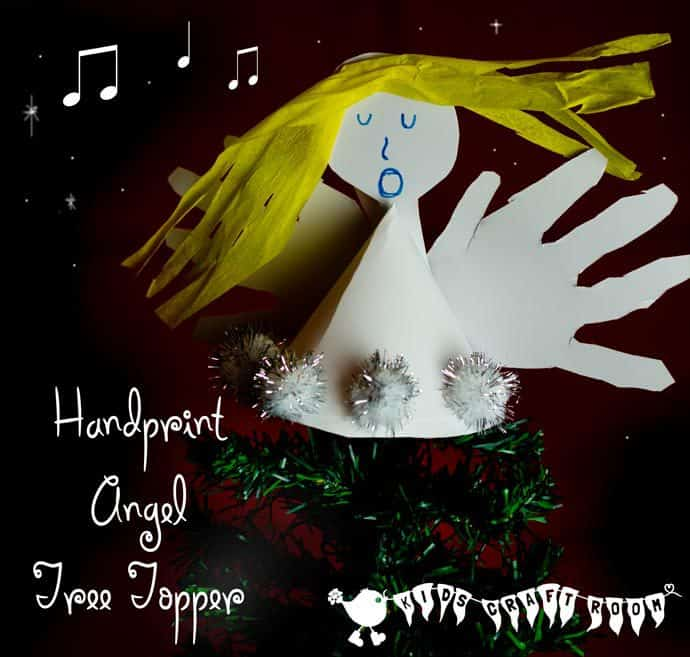 Handprint Angel Craft - Fun Christmas ornaments for kids to make. These angels look great on top of the Christmas tree and make super keepsakes too.