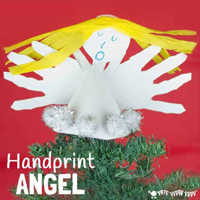 HANDPRINT ANGEL CRAFT- Fun Christmas ornaments for kids to make. These homemade angels look great as tree toppers and are super festive keepsakes too. Who can resist a Christmas handprint craft? #christmas #christmascrafts #angel #angelcrafts #handprint #handprintcrafts #ornaments #christmasornaments #kidscrafts #kidscraftroom
