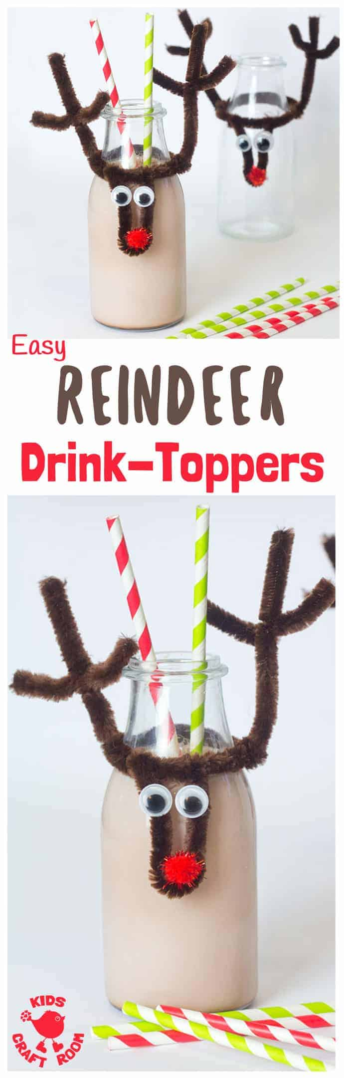 REINDEER CHRISTMAS BOTTLE TOPS This easy reindeer craft makes bottles fun and festive. Pop them on kids milk bottles, fizzy pop or even wine for the grown ups! Make them wider for glasses too. A fun Christmas craft for kids. #reindeer #rudolf #christmas #christmascraft #diy #bottletops #kidscrafts #christmasideas #ornaments #kidscraftroom