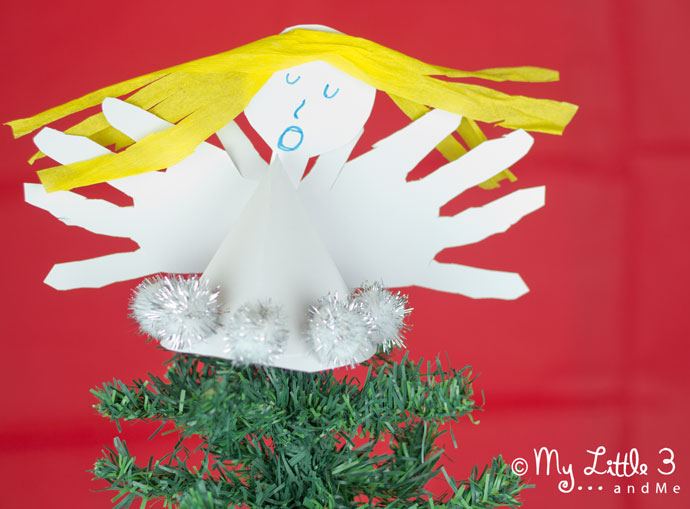 Handprint Angel Tree Toppers - homemade Christmas decorations for kids. (My Little 3 and Me)