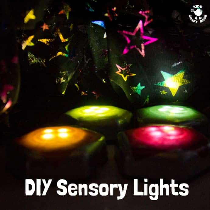 DIY SENSORY LIGHTS - A wonderful homemade sensory play activity for babies, toddlers and preschoolers. This sensory play idea is so easy and thrifty to make. Kids will love exploring and learning with this set of coloured lights.