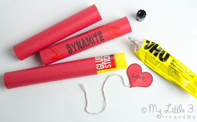 """You're DYNAMITE!"" Valentine Gifts - Free Printable Sweet Holder from My Little 3 and Me"