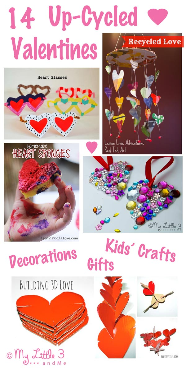 Creating a fun filled, pretty Valentine's day for loved ones won't cost the earth with these 14 cute and easy up-cyled Valentine's Day ideas.