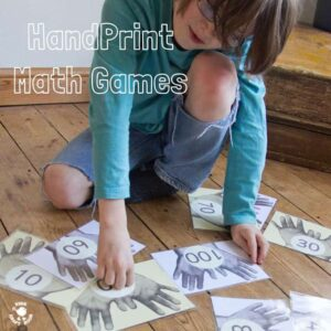 HANDPRINT MATH for hands-on fun and meaningful learning! A great resource for developing early math skills, one to one correspondence and 5 and 10 times tables.