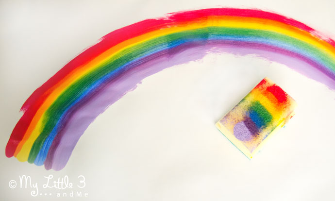 Rainbow Sponge Painting - a fun art for kids that explores colour mixing and blending.