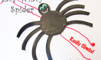 Make an Incy Wincy Spider (Itsy Bitsy Spider) that actually climbs! A great interactive paper plate nursery rhyme craft.