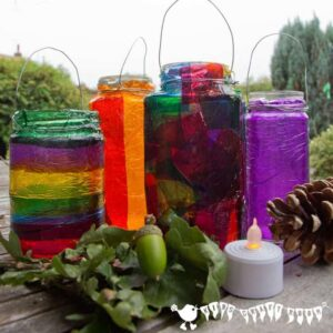 Easy Stained Glass Effect Lanterns, a lovely Autumn/Fall craft for kids and a great way to explore colour mixing.