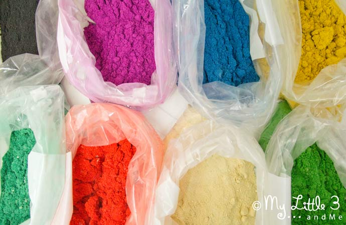 Make your own coloured sand. Vibrant and fun for all sorts of sand art projects like Rangoli patterns and sand bottles.