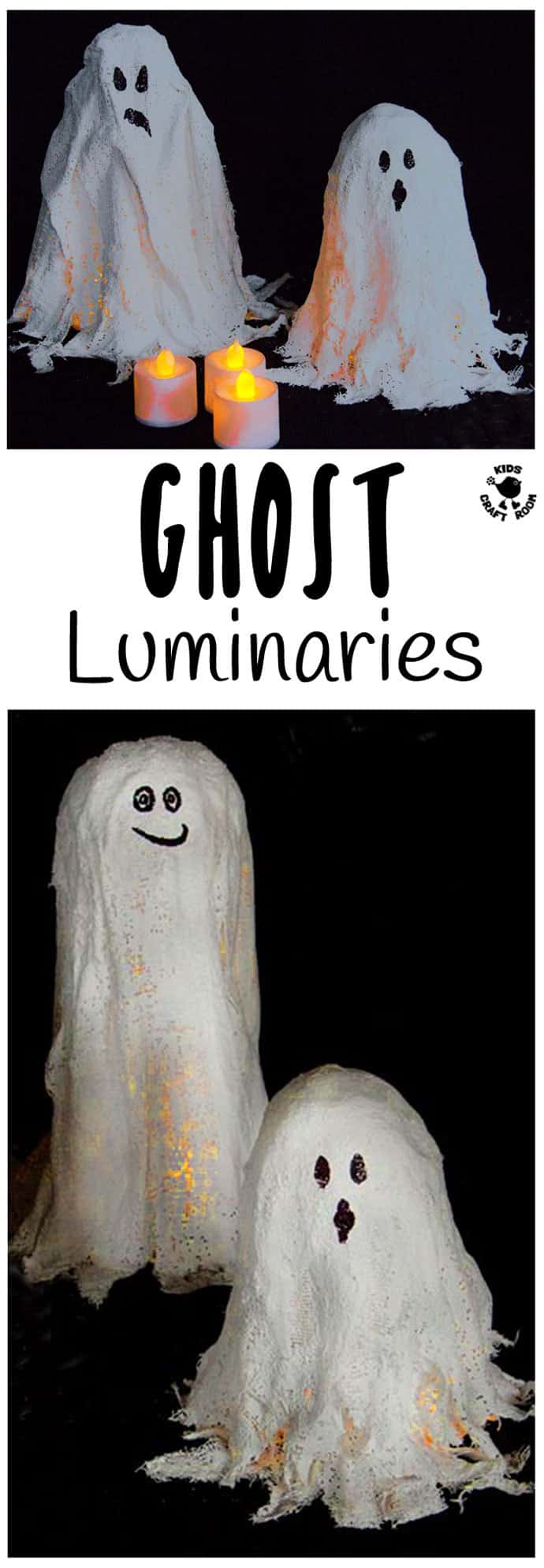 GHOST LUMINARIES -Make DIY Mod Roc Ghost Lights. A fun and different Halloween lantern craft idea great for little and big kids.