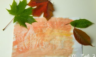 Art Project For Kids - Wax Resist Leaf Painting