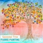 SEASONAL TREE FABRIC PAINTING - A fun Fall art idea for kids. Use fabric paints and markers in this colourful art project for kids. A great painting idea for kids to use textiles that doesn't involve sewing!