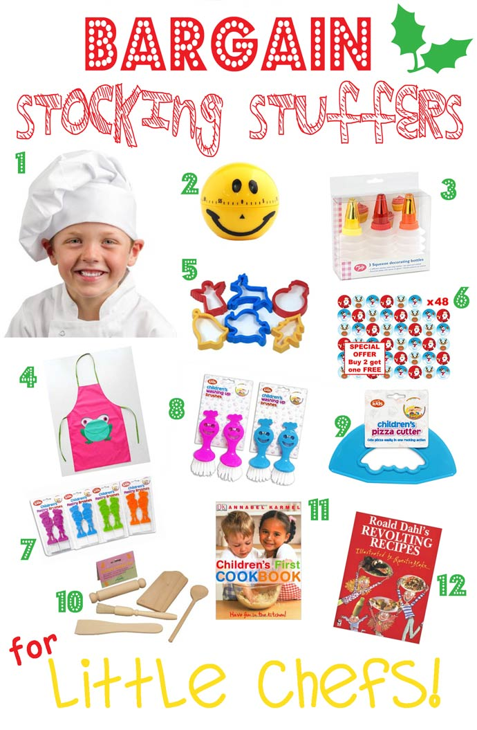 BARGAIN STOCKING STUFFERS FOR KIDS - LITTLE CHEFS - Looking for great bargain stocking stuffers for kids that won't be discarded in a week or two? Here's a fantastic stocking stuffers gift guide featuring bargain stocking stuffers, arranged by themes, that can be played with again and again throughout the year.