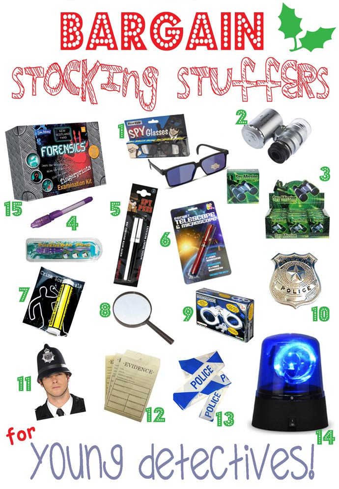 BARGAIN STOCKING STUFFERS FOR KIDS-YOUNG DETECTIVES - Looking for great bargain stocking stuffers for kids that won't be discarded in a week or two? Here's a fantastic stocking stuffers gift guide featuring bargain stocking stuffers, arranged by themes, that can be played with again and again throughout the year.