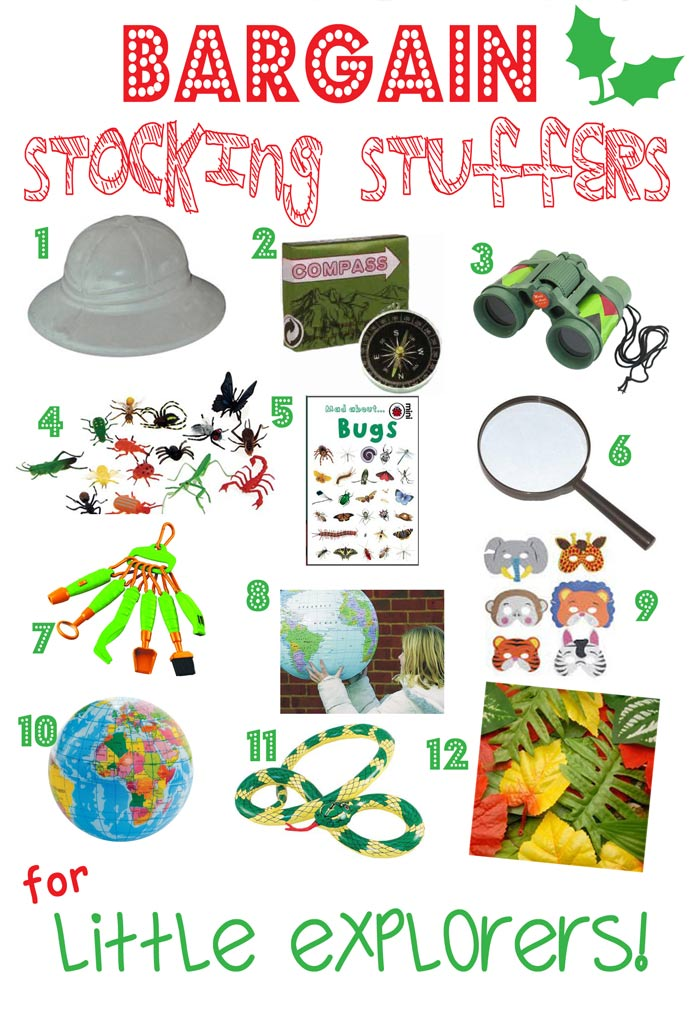 BARGAIN STOCKING STUFFERS FOR LITTLE EXPLORERS - Looking for great bargain stocking stuffers for kids that won't be discarded in a week or two? Here's a fantastic stocking stuffers gift guide featuring bargain stocking stuffers, arranged by themes, that can be played with again and again throughout the year.