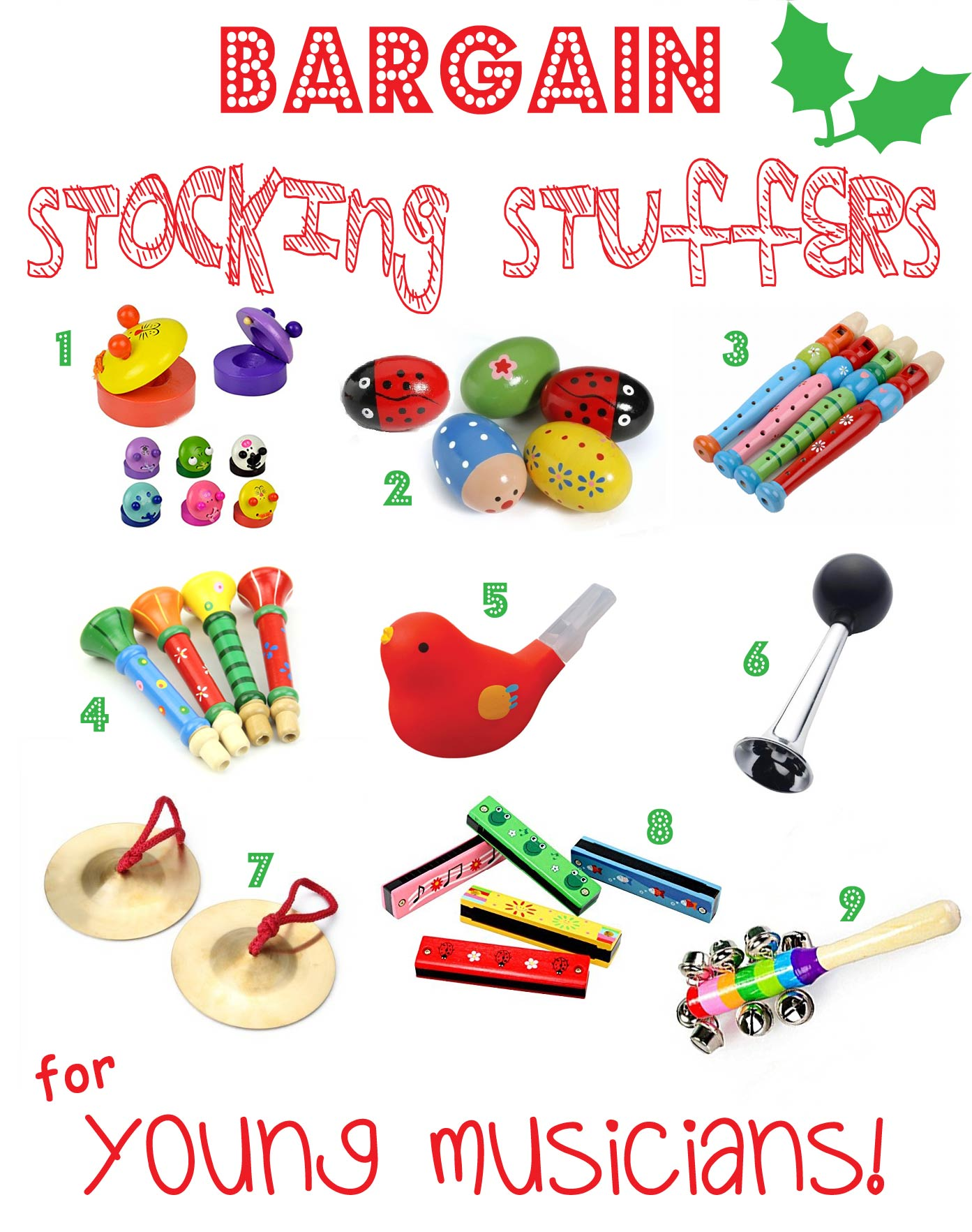 BARGAIN STOCKING STUFFERS FOR KIDS -YOUNG MUSICIANS - Looking for great bargain stocking stuffers for kids that won't be discarded in a week or two? Here's a fantastic stocking stuffers gift guide featuring bargain stocking stuffers, arranged by themes, that can be played with again and again throughout the year.