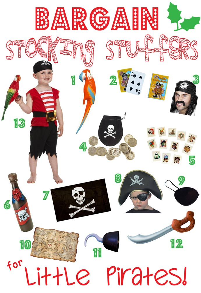 BARGAIN STOCKING STUFFERS FOR KIDS-LITTLE PIRATES - Looking for great bargain stocking stuffers for kids that won't be discarded in a week or two? Here's a fantastic stocking stuffers gift guide featuring bargain stocking stuffers, arranged by themes, that can be played with again and again throughout the year.