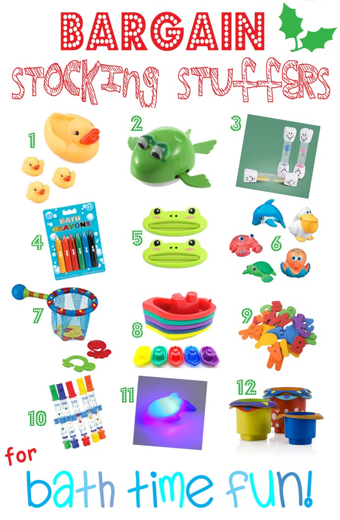 BARGAIN STOCKING STUFFERS FOR KIDS - BATH TIME FUN - Looking for great bargain stocking stuffers for kids that won't be discarded in a week or two? Here's a fantastic stocking stuffers gift guide featuring bargain stocking stuffers, arranged by themes, that can be played with again and again throughout the year.