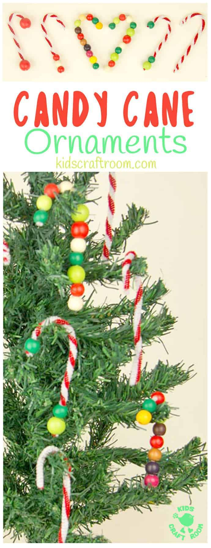 DIY CANDY CANE TREE ORNAMENTS - this pipecleaner and bead Christmas craft for kids is super simple and easy and lots of fun. Make lots of cute candy canes to decorate the Christmas tree.  #christmas #christmascrafts #christmascraftsforkids #ornaments #candycane #kidscrafts #kidscrafts101 #kidscraftroom #christmasforkids #kidsactivities #finemotor