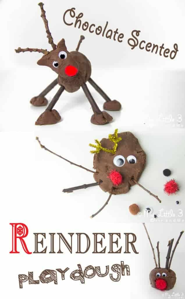 CHOCOLATE SCENTED NO-COOK PLAY DOUGH RECIPE perfect for festive choco-tastic reindeer crafts. Easy Christmas sensory play for kids.