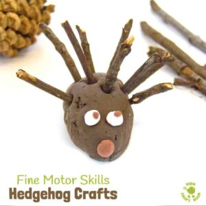 HEDGEHOG CRAFTS TO BUILD FINE MOOR SKILLS - fun 3D Autumn / Fall crafts for kids that develop fine motor skills and encourage a love of Nature.