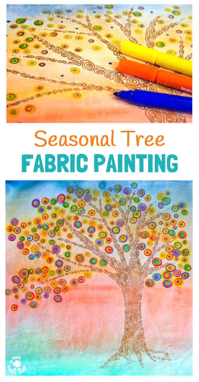SEASONAL TREE CRAFT FABRIC PAINTING - A fun Fall art idea for kids. Use fabric paints and markers in this colourful art project for kids. A great painting idea for kids to use textiles that doesn't involve sewing!