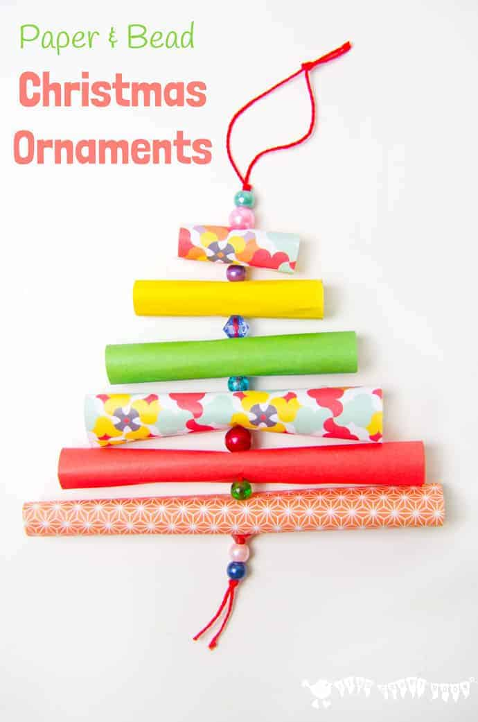 Have fun with paper & beads making adorable homemade Christmas ornaments. Pretty enough for grown-ups, simple enough for kids!