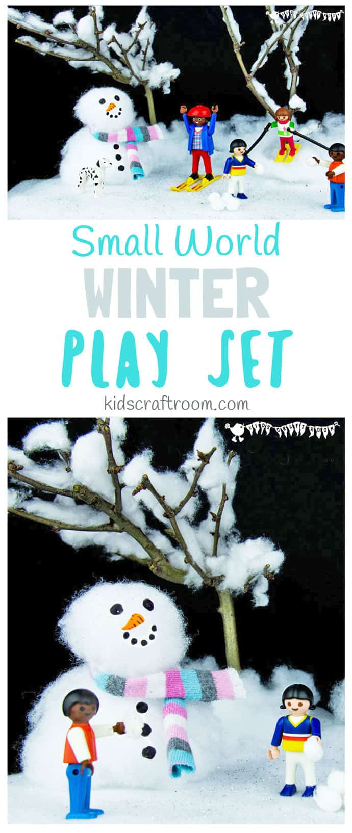 SMALL WORLD WINTER PLAY SET - Make an easy small world snow scene for kids to explore the fun and magic of Winter and snow again and again. A fun Winter craft for kids that encourages imaginative play. #Winter #snow #wintercrafts #wintercraftsforkids #wintercraftideas #winteractivities #smallworld #play #playideas #kidscraftroom