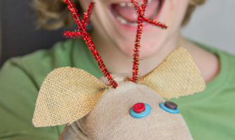 Make a no-sew Reindeer Sock Puppet