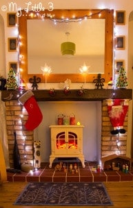 Here's a sneaky behind the scenes peep at our Christmas hearth decorations. I've kept it very simple this year with a few of the children's homemade decorations a beautiful festive Turtle Mat.