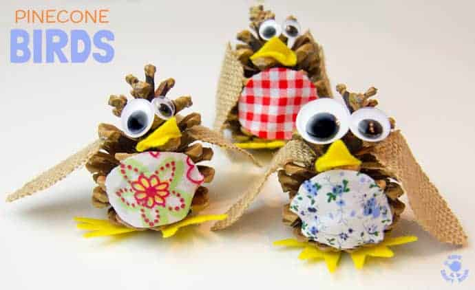 Pinecone Birds are a fun kids craft all year round. At Christmas make an adorable pinecone robin ornament to hang on the tree. Pinecone crafts are a great way to introduce nature crafts for kids.