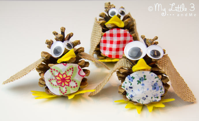 Pine Cone Birds an easy nature craft for kids.