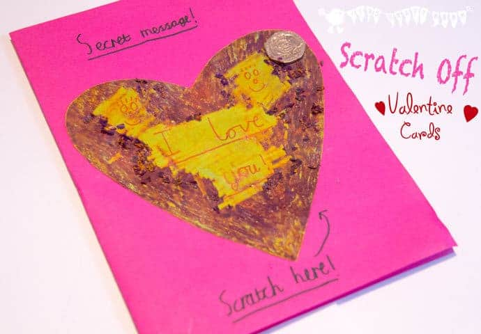 Surprise loved ones with Scratch Off Secret Message Valentine's Day Cards! A fun Valentine's Day craft for all.