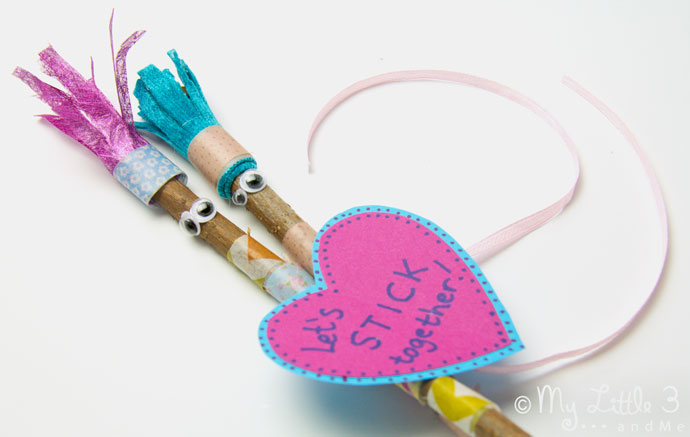 Make adorable Valentine Friend Stick Figures, a cheap and easy Valentine craft for kids that's not too soppy for the boys!