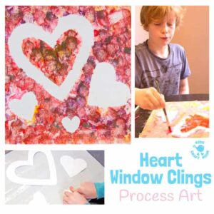 Heart Suncatchers / Window Clings – Process Art