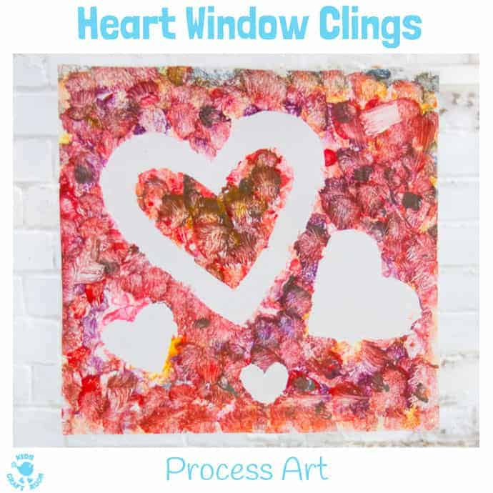 HEART WINDOW CLINGS/SUNCATCHERS - Kids from toddlers to tweens will love this fun process art project. It's a gorgeous Valentine's Day craft and perfect for Mother's Day gifts too.